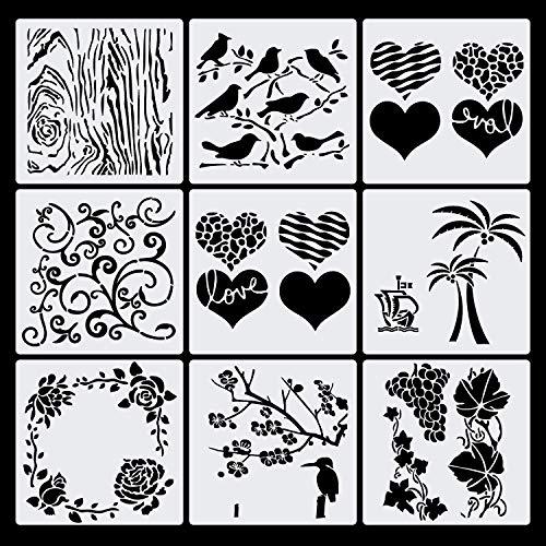 Haosell Plantillas de dibujo para niños, juego de plantillas de plástico, accesorios para diario, plantillas, pájaro, árbol, flores, uva, corazón, para álbumes de recortes, tarjetas de regalo