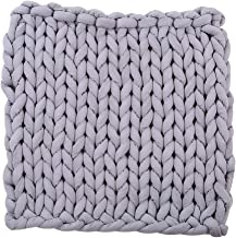 HOMYL Cotton Chunky Knit Sofa Lounge Bed Throw Rug Blanket - 60 x 60cm - Gray, as described