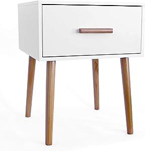 MaisonMaligne - Table de Chevet Scandinave Blanche ou Grise - 40x40x50cm (Blanc)