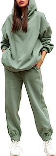Women Hoodies Tracksuit Long Sleeve Hooded Matching Joggers Sweatpants 2 Piece Sweatsuit Sets