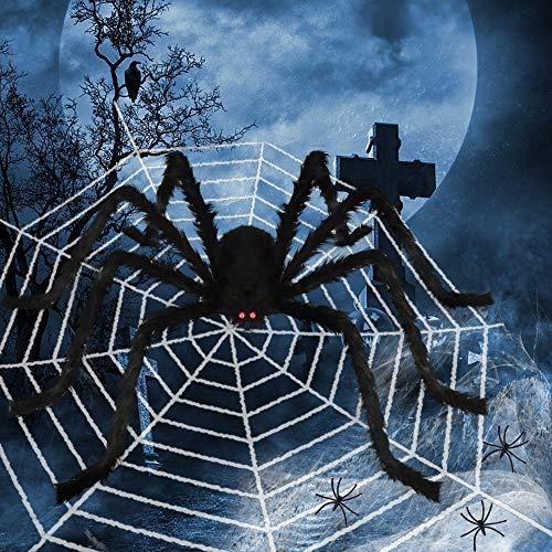 Decoración de Halloween, juego de tela de araña peluda, que incluye una araña gigante de 200 cm, una tela de araña grande de 500 cm, tela de araña elástica, 20 arañas pequeñas Decoración de jardín