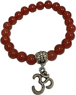 Padma Craft Fashion 8mm Natural Stone Yoga Meditation Om Bead Stretch Charm Bracelet