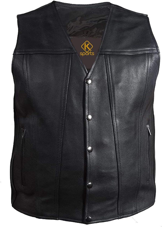 K Sports Men's Basic Biker Leather Waistcoat Motorcycle Concealed Vest Snap Closure-5XL