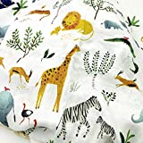 Bamboo Fiber/Cotton Muslin Baby Blankets Bedding Infant Swaddle Towel Multifunctional Envelopes 47x47 (Peace Animal)