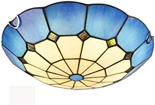 Tiffany Style LED Ceiling Light, Mediterranean Round Ceiling Lamp Retro Stained Glass Ceiling Lighting Fixtures for Bedroo...