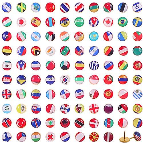 Chinchetas de Bandera Nacional Tachuelas de Países Chinchetas de Mapa para Tablón de Anuncios Oficina (100 Piezas, Patrón de Países Surtidos)