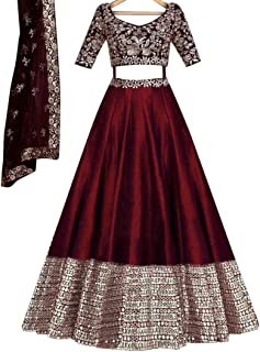 Women's Maroon Colored Lehenga Choli With Embroidery Work (AF-LC-278)