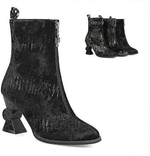 ZHRUI zapatos de mujer - botas de Moda de tacón Alto británicas botas de Invierno Martin   35-43 (Color   negro, tamaño   35)