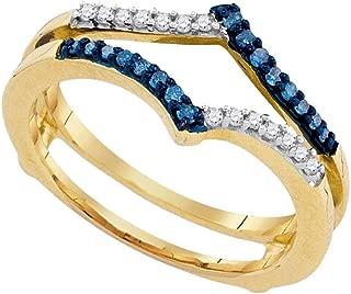 10k Yellow Gold Round Blue Diamond Ring Guard Wrap Enhancer Band (1/5 Cttw)