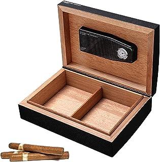 Humidors Cigarrcederträ pianofärg cigarr skåp stor kapacitet dubbelfack förvaring och förvaring (storlek: 32 x 23 x 10,5 cm)