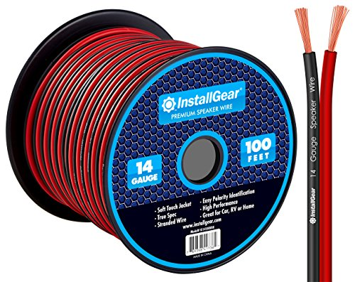 InstallGear 14 Gauge AWG 100ft Speaker Wire True Spec and Soft Touch Cable - Red/Black
