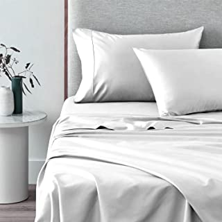 Pizuna 400 Thread Count Cotton Bed Sheet Set King Size White, 4pc 100% Long Staple Cotton Hotel Bed Sheets Highly Breathab...