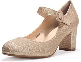 IDIFU Women's RO2 Candy Classic Low Chunky Block Heel Mary Jane Round Toe Buckle Strap Office Work Pumps Shoes Gold Size: 9.5
