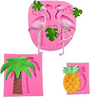 Flamingo Silicone Mold Palm Tree Candy Mold Pineapple Chocolate Mold Palm Leaves Mold Hawaiian Tropical Theme Cake Fondant Mold for Summer Beach Luau Party Cake Decorating
