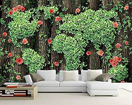 XHXI Mural The Tree Green Vine Rose Papel tapiz 3D Foto Decoración del hogar Mural Sala de estar El dormitorio Pared Pintado Papel tapiz Decoración dormitorio Fotomural sala sofá mural-200cm×140cm