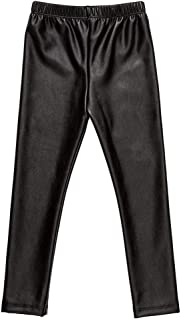 Girls Black Elasticity Faux Leather Pants Kids Thick Leggings Warmth Trousers for 2-14 Years Old Children
