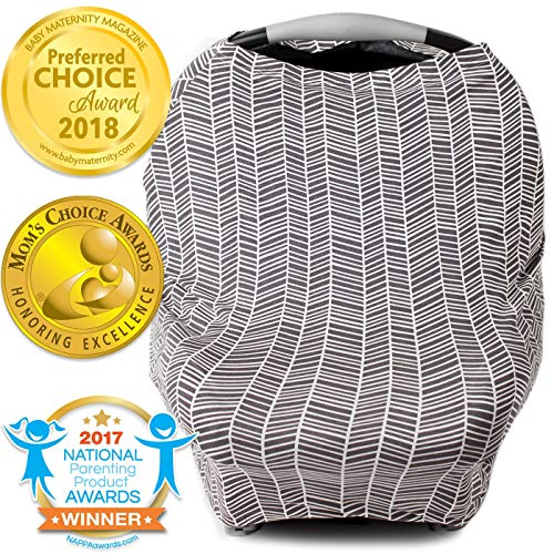 Nursing Cover, Car Seat Canopy, Shopping Cart, High Chair, Stroller and Carseat Covers for Boys and Girls- Best Stretchy Infinity Scarf and Shawl- Multi Use Breastfeeding Cover Up- Herringbone Pattern