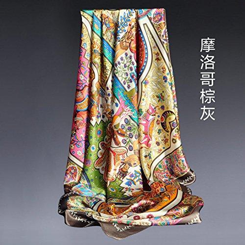 Bufandas Fulares Bufandapañuelo De Seda Nuevo Pañuelo Estampado De 100 Bandas, Ceniza Marrón Marroquí, 108 X 108 Cm