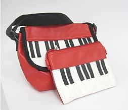 ピアノ鍵盤ミニショルダーバッグ&ポーチのセット(レッド)