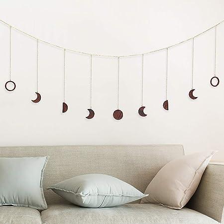 OCIOLI Moon Phase Wall Hanging Moon Garland Decor Boho Hanging Ornaments Moon Hang Art Room Decor Boho Room Moon for Bedroom Wedding Home Office Nursery Room Dorm