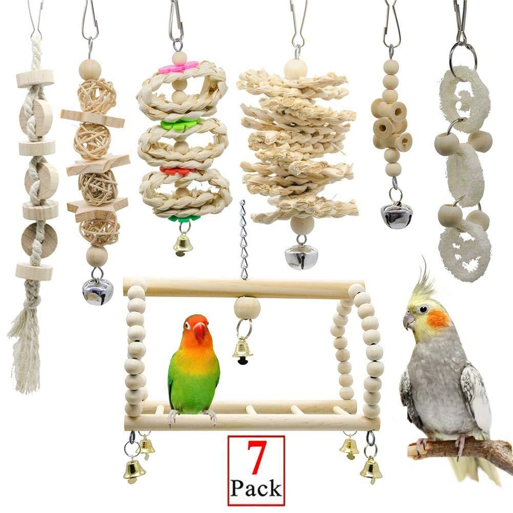 JGHH Juguete de Aves de 7 Piezas Loro de Juguete para Mascotas Jaula de pájaro Campana Hamaca Columpio Subida de escaleras de Madera de Juguete Calamar Espejo Chew Toy para Animales pequeños: