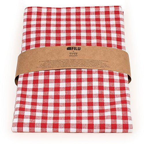 FILU Tischläufer 40 x 180 cm Rot/Weiß kariert (Farbe und Größe wählbar) - hochwertig gefertigter Tischläufer aus 100% Baumwolle im skandinavischen Landhaus-Stil