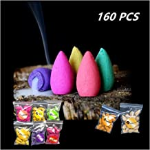 160 Pcs Backflow Incense Cones 8 Mixed Natural Scents Sandalwood Rose Lily Tulips..