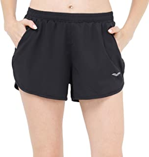 MIER Women's Workout Running Shorts Quick Dry 3 Inches Active Shorts, Zipper Pockets, Stretchy Liner, Black