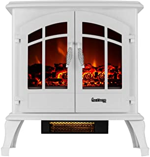 e-Flame USA Jasper Free Standing Electric Fireplace (White)