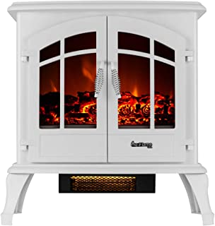 e-Flame USA Jasper Free Standing Electric Fireplace Stove - 3-D Log and Fire Effect (White)