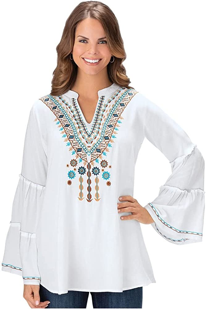Collections Etc Women's Embroidered Bell Sleeve Tunic White Large