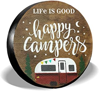 Dream-Seeker Spare Tire Cover Life is Good Happy Camper Camping PVC Leather Waterproof Universal Wheel Tire Covers for Jeep Trailer RV SUV Truck Camper Travel Trailer Accessories
