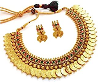 YouBella Fashion Jewelry Bollywood Ethnic Gold Plated Traditional Indian Temple Necklace Set with Earrings