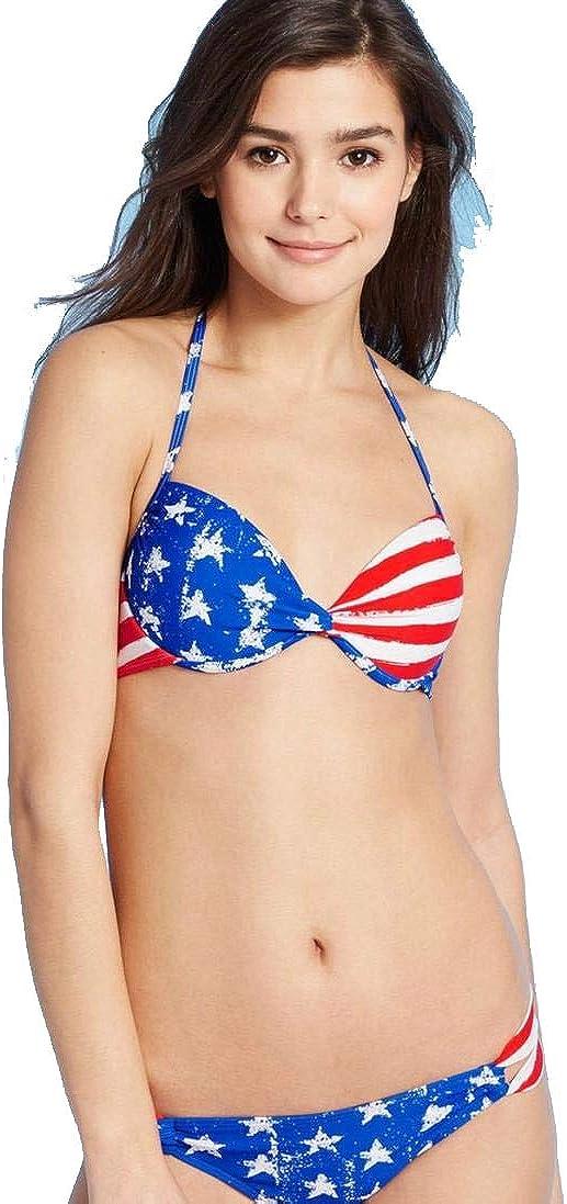 Xhilaration Juniors' Push-Up Halter Bikini Top - Red Stripe -
