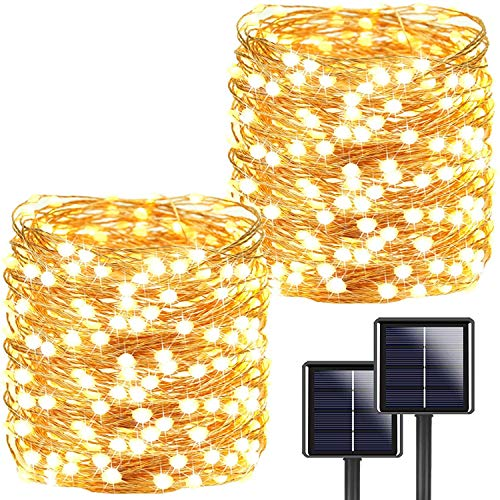 [2 Stücke] Usboo® Solar Lichterkette, 150 warmweiße LEDs 15 Meter für Innen & Außen mit wasserdichten Kupferdrähten für Zimmersdekorationen, Feste, Garten, Balkons, Partys, Hochzeiten, Kinder usw.