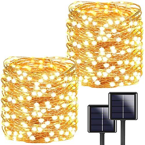 [2 Stücke] Usboo® Solar Lichterkette, 15 Meter 150 warmweiße LED für Innen & Außen mit wasserdichten Kupferdrähten für Weihnachten, Raumsdekorationen, Partys, Hochzeiten, Garten, Balkons, Kinder usw.
