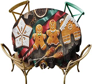 W Machine Sky Outdoor Picnics Gingerbread Man,Delicious Homemade Cookies Dried Fruits and Bakery Tools Festive Rustic, Multicolor Diameter 54