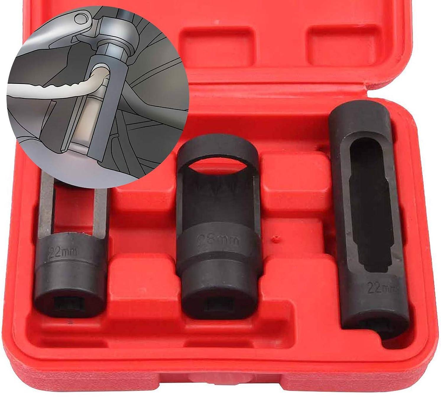 Diesel Oxygen Sensor Remover Tool Kit Set - 3 Piece Socket Set for Fuel Injectors - 22mm / 28mm Universal Injector SocketS Wrench Tool Kit for 02 Sensors - Professional Grade Removal Too