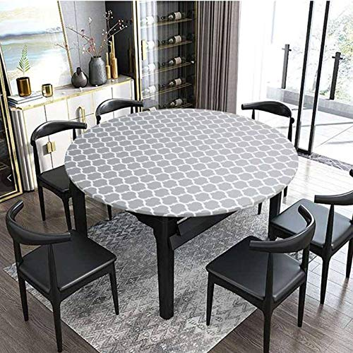 HUANXA Waterproof Round Tablecloth for Patio Indoor Outdoor Dining Table, Vinyl Table Cover With Elastic Edge Wrinkle Free Wipeable PVC Table Cloth-E-diameter 65-80cm(23-31in)