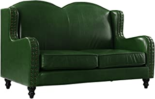 Leather Match Loveseat 2 Seater, Living Room Couch with Nailhead Trim (Green)