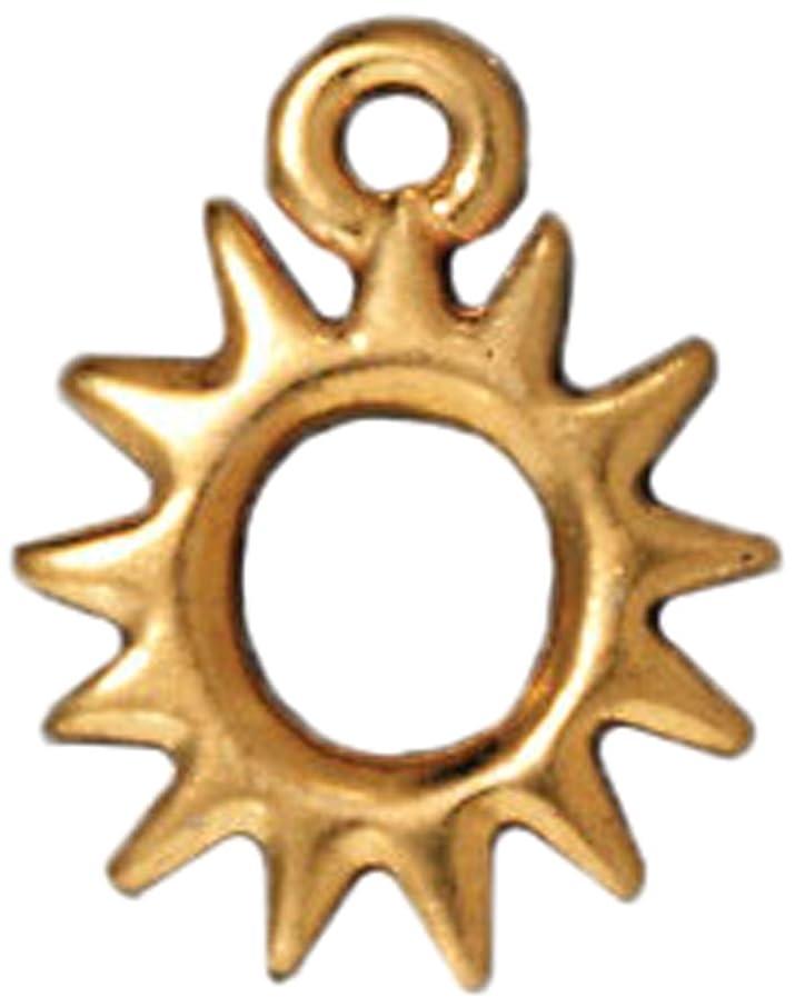 TierraCast Charm Radiant Sun Beads, 14.25mm, Bright Gold