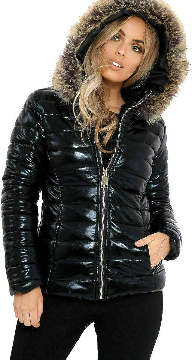 MIXLOT Ladies Black Wet Look Shiny PU Vinyl Fur Hooded Bubble Padded Puffer Jacket Winter Coat