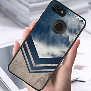 Phone Case Fit for Google Pixel 3 XL (2018) (6.3inch) Mountain Fog Navy Wood