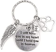 I Will Hold You in My Heart Until I Hold You in Heaven Angel Wing Pet Puppy Paw I Love My Dog Keychain 114P