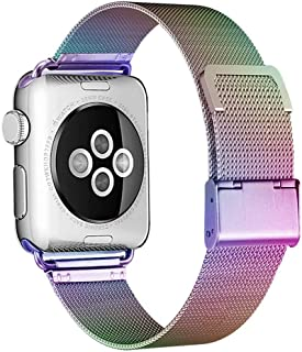 HILIMNY Compatible for Apple Watch Band 38mm 40mm 42mm 44mm, Stainless Steel Mesh Sport Wristband Loop with Adjustable Magnet Clasp for iWatch Series 1/2 / 3/4