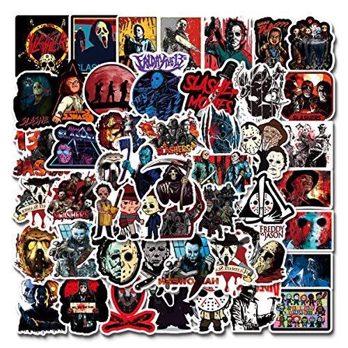 Horror Stickers|50-Pack |Halloween Vinyl Waterproof for Laptop Stickers,Skateboard, Hydro Flask, Water Bottle, Computer, Guitar,Luggage, Bike Bumper,Adults/Teens Stickers (Horror Stickers)