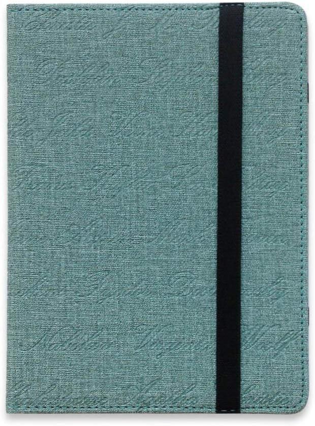 eReader - Funda universal para Tagus Iris KOBO Pocketbook Color Tolino Woxter Energy e-Reader Funda protectora de piel sintética (con nombre del autor azul)