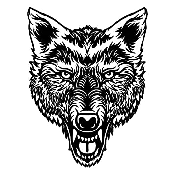VEGASBEE Large Lone Wolf Head Tattoo Ink Art Embroidered Iron-On Patch Size XL 12 H USA  Black-White