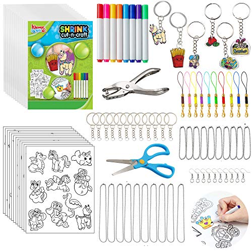 JOYIN 102 Pcs Deluxe Shrink Art Craft Kits with Heat Blank Shrink Film Sheet, Traceable Pictures, Color Pencils, Scissors, Punch Hole Tool, Keychain Accessories and More for Kids DIY Crafts