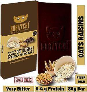 BOGATCHI Oats 99.99% Dark Healthy Chocolate Bar with Raisins , Low Carbs, Keto Chocolate, 80g
